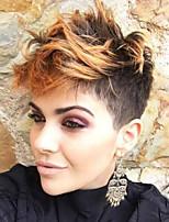 Недорогие -Парики из искусственных волос Жен. Естественный прямой Боковая часть / С чёлкой Искусственные волосы 6 дюймовый Новое поступление / Выделенные пряди / балаяж / Парик в афро-американском стиле