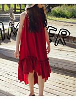 Недорогие -Дети Девочки Классический Повседневные Однотонный Без рукавов Хлопок / Полиэстер Платье Красный