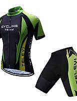 Недорогие -TELEYI С короткими рукавами Велокофты и велошорты - Черный / зеленый Велоспорт Быстровысыхающий Однотонный / Эластичная