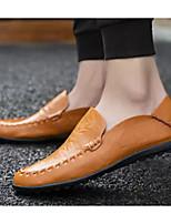 Недорогие -Муж. Комфортная обувь Кожа Весна лето Мокасины и Свитер Черный / Желтый