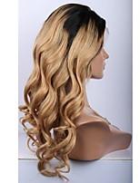 Недорогие -Не подвергавшиеся окрашиванию человеческие волосы Remy Полностью ленточные Парик Бразильские волосы Свободные волны Парик Стрижка каскад Средняя часть Боковая часть 130% Плотность волос