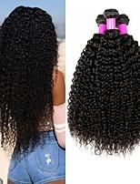 Недорогие -3 Связки Малазийские волосы Kinky Curly 8A Натуральные волосы Необработанные натуральные волосы Подарки Косплей Костюмы Головные уборы 8-28 дюймовый Естественный цвет Ткет человеческих волос