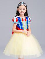 abordables -Princesse Costume de Cosplay Fille Enfant Robes Maille Noël Halloween Carnaval Fête / Célébration Tulle Coton Tenue Jaune Dentelle