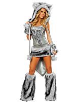 abordables -Chat Loup femmes Costume Père Noël Femme Adulte Halloween Noël Noël Halloween Carnaval Fête / Célébration Térylène Polyester Tenue Gris Couleur Pleine