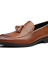 Недорогие -Муж. Официальная обувь Синтетика Весна & осень Деловые / Английский Мокасины и Свитер Нескользкий Черный / Коричневый / Винный / Для вечеринки / ужина
