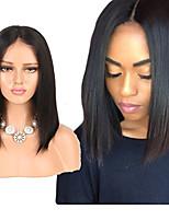 Недорогие -человеческие волосы Remy Полностью ленточные Лента спереди Парик Бразильские волосы Естественный прямой Парик Ассиметричная стрижка 130% 150% 180% Плотность волос Модный дизайн Мягкость Sexy Lady