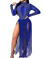 Недорогие -Жен. Классический Оболочка Платье - Однотонный, Бусины / С кисточками Макси