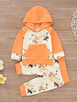 Недорогие -Дети (1-4 лет) Девочки Активный / Классический Мультипликация Длинный рукав Хлопок / Спандекс Набор одежды Оранжевый