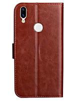 Недорогие -ASLING Кейс для Назначение Huawei Huawei Honor 8X Кошелек / Бумажник для карт / со стендом Чехол Однотонный Мягкий Кожа PU для Huawei Honor 8X