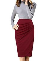 Недорогие -женские юбки midi bodycon - сплошной цвет