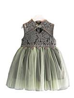 Недорогие -Дети Девочки Классический Повседневные Однотонный Без рукавов Платье Серый