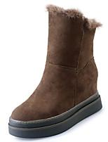 Недорогие -Жен. Замша Зима На каждый день Ботинки Микропоры Круглый носок Сапоги до середины икры Черный / Хаки