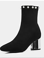 Недорогие -Жен. Замша / Овчина Осень Ботинки На толстом каблуке Закрытый мыс Ботинки Черный / Серый