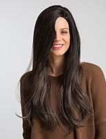 Недорогие -Парики из искусственных волос Жен. Естественный прямой Черный Боковая часть Искусственные волосы 26 дюймовый Модный дизайн / Новое поступление / Волосы с окрашиванием омбре Черный Парик Очень длинный