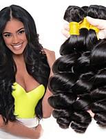 Недорогие -3 Связки Перуанские волосы Свободные волны Натуральные волосы Необработанные натуральные волосы Головные уборы Человека ткет Волосы Сувениры для чаепития 8-28 дюймовый Естественный цвет