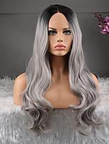 Недорогие -человеческие волосы Remy 360 Лобовой Парик Бразильские волосы Естественные кудри Темно-серый Парик Ассиметричная стрижка 130% Плотность волос Натуральный Мода Удобный 100% девственница Темно-серый