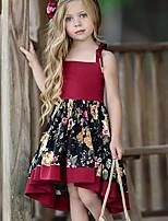 Недорогие -Дети Девочки Милая Повседневные Цветочный принт С принтом Без рукавов Ассиметричное Платье Красный