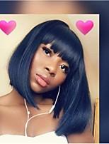 Недорогие -человеческие волосы Remy Полностью ленточные Лента спереди Парик Бразильские волосы Прямой Черный Парик Ассиметричная стрижка 130% 150% 180% Плотность волос Модный дизайн Легко туалетный Sexy Lady