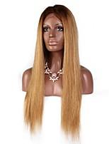 Недорогие -Не подвергавшиеся окрашиванию человеческие волосы Remy Лента спереди Парик Бразильские волосы Естественный прямой Шелковисто-прямые Блондинка Парик Средняя часть Боковая часть С конским хвостом 130