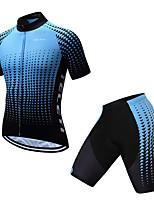 Недорогие -TELEYI С короткими рукавами Велокофты и велошорты - Синий и черный Велоспорт Быстровысыхающий Геометрический принт / Эластичная