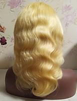 Недорогие -Не подвергавшиеся окрашиванию человеческие волосы Remy Лента спереди Парик Бразильские волосы Естественные кудри Блондинка Парик Стрижка каскад Средняя часть Боковая часть 130% Плотность волос