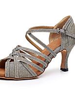 Недорогие -Жен. Обувь для латины Синтетика На каблуках Кубинский каблук Персонализируемая Танцевальная обувь Золотой