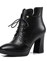 Недорогие -Жен. Наппа Leather Осень Туфли на шнуровке На толстом каблуке Черный / Красный