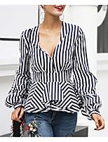Недорогие -Жен. Рубашка Уличный стиль Полоски
