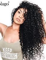 Недорогие -человеческие волосы Remy Необработанные натуральные волосы 360 Лобовой Парик Бразильские волосы Крупные кудри Loose Curl Парик Глубокое разделение 150% 180% Плотность волос / Природные волосы