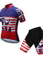 Недорогие -TELEYI С короткими рукавами Велокофты и велошорты - Красный + синий Велоспорт Быстровысыхающий Флаги / Эластичная