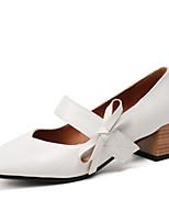 Недорогие -Жен. Полиуретан Весна & осень Обувь на каблуках На толстом каблуке Квадратный носок Бант Белый / Черный / Бежевый