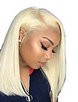 Недорогие -Не подвергавшиеся окрашиванию Лента спереди Парик Бразильские волосы Прямой Блондинка Парик Стрижка боб 150% Плотность волос с детскими волосами Жаропрочная Cool с клипом Glueless Блондинка Жен.