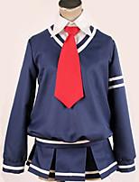 baratos -Inspirado por Vocaloid Fantasias Anime Fantasias de Cosplay Ternos de Cosplay / Uniformes Escolares Sólido / Formais Blusa / Saia / Mais Acessórios Para Homens / Mulheres