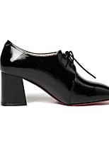 Недорогие -Жен. Наппа Leather Весна Туфли на шнуровке На толстом каблуке Черный / Черный / синий