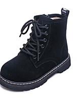 Недорогие -Девочки Обувь Замша Зима Армейские ботинки Ботинки Молнии для Дети Черный / Коричневый
