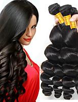 Недорогие -6 Связок Бразильские волосы Малазийские волосы Свободные волны человеческие волосы Remy Натуральные волосы Подарки Косплей Костюмы Головные уборы 8-28 дюймовый Естественный цвет