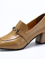Недорогие -Жен. Полиуретан Весна На каждый день Обувь на каблуках На толстом каблуке Черный / Бежевый / Миндальный