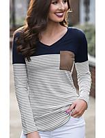 Недорогие -женская хлопковая футболка скинни - цвет блок / полосатый шею