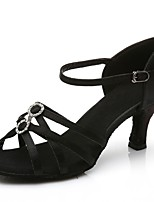 Недорогие -Жен. Обувь для латины Сатин Сандалии / На каблуках Кубинский каблук Персонализируемая Танцевальная обувь Черный