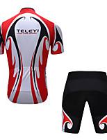 Недорогие -TELEYI Муж. С короткими рукавами Велокофты и велошорты - Черный / красный Велоспорт Наборы одежды Быстровысыхающий Виды спорта Полиэстер Разные цвета Горные велосипеды Шоссейные велосипеды Одежда