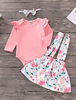 Недорогие -Дети (1-4 лет) Девочки Активный / Классический Жаккард Длинный рукав Хлопок / Спандекс Набор одежды Розовый