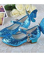 Недорогие -Девочки Обувь Синтетика Осень Детская праздничная обувь / Крошечные Каблуки для подростков Обувь на каблуках для Для подростков Серебряный / Синий / Розовый