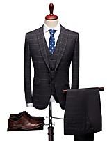 abordables -Avec motifs Coupe Sur-Mesure Laine / Polyster Costume - Cranté Droit 2 boutons
