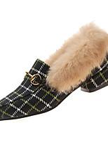Недорогие -Жен. Кролик / Полиуретан Зима На каждый день Обувь на каблуках На толстом каблуке Заостренный носок Черный / Бежевый