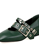 Недорогие -Жен. Наппа Leather Весна Обувь на каблуках На низком каблуке Черный / Зеленый