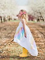 Недорогие -Дети Девочки Активный Однотонный Без рукавов Платье Белый
