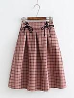 Недорогие -женские юбки midi bodycon - пейсли / чек / плед