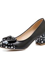 Недорогие -Жен. Полиуретан Весна & осень Обувь на каблуках На толстом каблуке Круглый носок Бант Белый / Черный