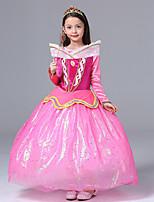 abordables -Aurora Robes Costume de Cosplay Fille Enfants Dessin Animé Halloween Noël Halloween Le Jour des enfants Fête / Célébration Polyester Tenue Rose Princesse