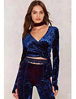 Недорогие -женская футболка скинни - сплошной цвет V-образным вырезом